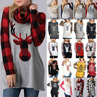 Womens Ladies Christmas Jumper Xmas Reindeer Long Sleeve Blouse Pullover Top USA