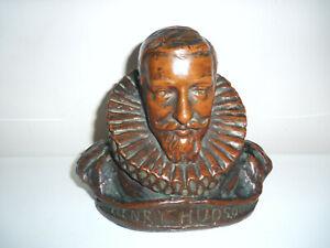 Rare Bronzed Bust of Henry Hudson Signed Louis Potter, (1873-1912) 1909