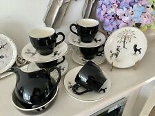Very Rare Mid Century British Anchor Coffee Set, Dogs, Poodles