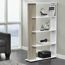 [en.casa]® Casier de bibliothéque MDF - aspect du bois et blanc