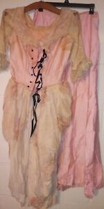 VICTORIAN EDWARDIAN 2 pc handmade silk outfit in florals and ties at front TLC