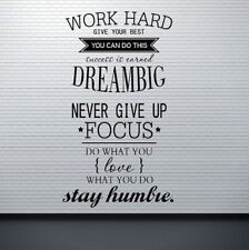 Big Quotes Wall Stickers Decals Work Hard Dream  For Office/Study Room #WE9