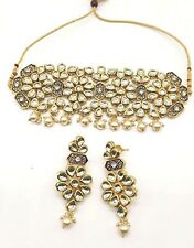 Ethnic Indian Kundan Gold Plated Pearl Traditional choker Necklace Set