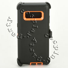 Samsung Galaxy Note 8 Hard Case w/Belt Clip fits Defender Black Orange