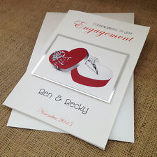 "Personalised Handmade Engagement Card ""Ring in Red Box"""