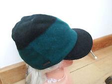SEEBERGER 100% PURE NEW WOOL GREEN BLACK PEAKED CAP BAKER BOY HAT 55cm small