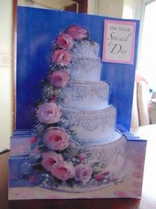 Handmade PERSONALISED Card or Topper WEDDING CAKE PINK ROSES