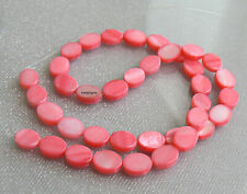Pink Mother of Pearl Shell Beads Strand Flat Oval 38B