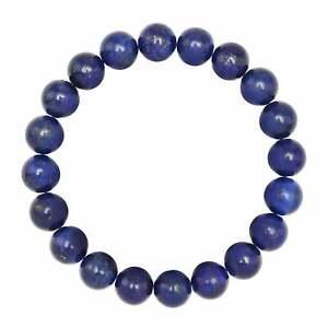 "Lapis Lazuli Bracelet Smooth Round Size 8mm 10mm 7.5"" Length"
