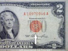 1953 ERROR $2 RED SEAL 3rd Print Shift US Note ~ Currency LOT #946   NO RESERVE
