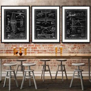 3 Piece Canvas Prints Set - Vintage Fighter Jet Black and White Art - Unframed