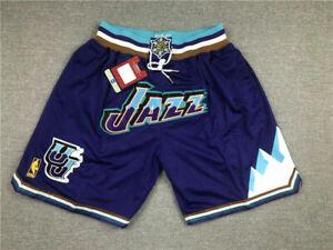New  Men's Utah Jazz 96-97 Purple Throwback Shorts   Size:S-XXL