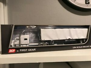 "DCP 1/64 PETERBILT 379 WHITE 70"" 320"" FRAME W/ CONASTOGA CURTAIN SIDE TRAILER"