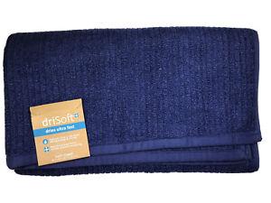 driSoft Bath Towel Dries Ultra Fast Non-Slip Back In NAVY BLUE 30 x 54 In