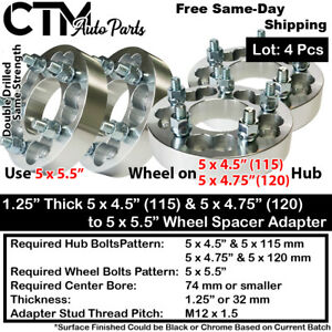 """4x 1.25"""" THICK 5x4.5(115) & 5x4.75(120) TO 5x5.5 WHEEL ADAPTER FIT CHEVY & MORE"""