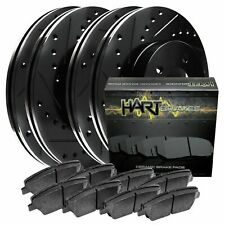 [FRONT+REAR KIT] Black Hart *DRILLED & SLOTTED* Brake Rotors +Ceramic Pads C1255