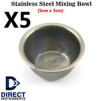5Pcs Surgical Dental Implant Laboratory Stainless Steel Mixing Bowls Cup Hygiene