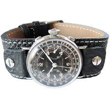 17mm Fluco Vigo Wide Black Riveted Leather Military Cuff German Watch Band Strap