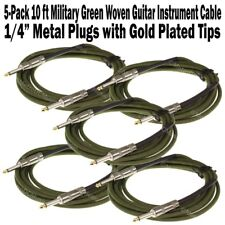 5-Pack 10 ft Military Green Woven Guitar Instrument Cable Cord Effect Patch 1/4""