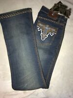 Antik Denim Women Size 30 Bootcut Jeans Low Rise Medium Wash Stretch Embroidered