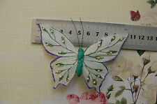 WHITE & Purple EdgeFeather BUTTERFLY 11x8cm & 2.5cm Squeeze Clip-Touch Of Nature
