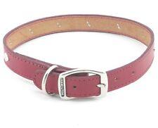 "HAMILTON Diamond Studded Stitched Leather Dog Collar, 22"" x 1"", Red"