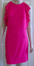 $118 ANN TAYLOR Sleeveless Sultry Flounce Dress Hypnotic Pink Sz 12P 12 Petite