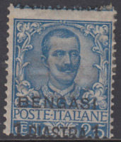 Italy Bengasi Offices - Sassone n.1 cv 145$ +++ MH* Variety shifted perforation
