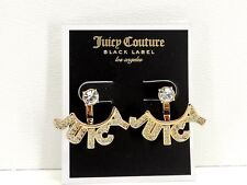 Juicy Couture Juicy Tags Jacket Earrings Goldtone Crystal Studs New! NWT