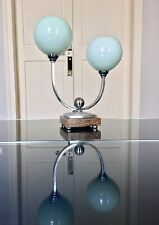 Lampe de table Art Déco Moderne Chrome Onyx Opaline