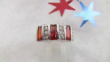 Women's Ring Size 7.75 Ruby Red Baquettes Clear Rhinestones Sterling Silver 925