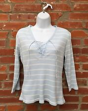 Vintage 90s Lace Up Shirt Top Womens Light Blue White Stripe Ribbed (1216)