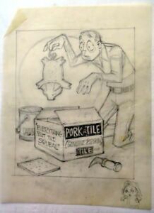 AL KILGORE pencil drawing 8 x 10 FLOOR COVERING WEEKLY Magazine Cartoon AKd336