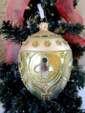 VINTAGE LARGE BLOWN GLASS POLAND FANCY GOLD GLITTER&HANDPAINTED CHRISTMAS ORNAME