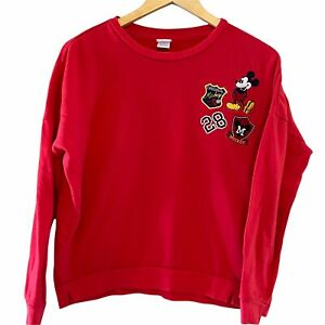 Disney Mickey Mouse Red Patches Cropped Sweatshirt- Sz Large