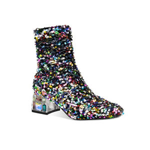 Occident Women Round Toes Sequins Block Heels Ankle Boots Partyclub Wear shoes