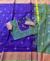 Blue Uppada Silk Saree With Green Blouse & Fall Stitched Size 34-40-USA Seller