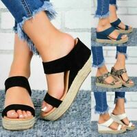 Women's Wedge Heel Espadrille Sandals Summer Casual Peep Toe Slip On Shoes Size