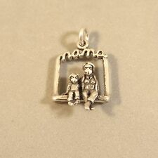 .925 Sterling Silver NANA ON SWING /GRANDDAUGHTER CHARM NEW Grandmother 925 WR18