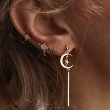 3 pcsset Small Gold Star Crescent Moon Beauty Ear Stud Earrings Women Jewelry