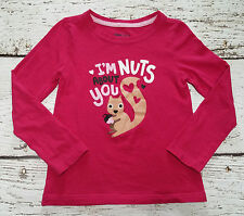 """Gap Kids Girls Pink Squirrel """"I'm Nuts About You"""" Valentine's Tee Xs (4-5) Euc"""