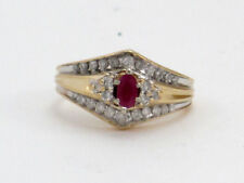 Round Diamond Right Hand Ring .81ct 14k Yellow Gold Oval Red Ruby and