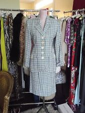 YVES SAINT LAURENT YSL Sz 8 Houndstooth Suit 2 Piece Skirt Jacket Blazer Vintage