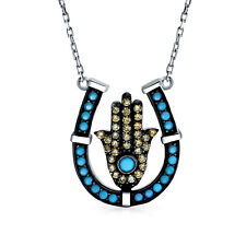 Equestrian Hamsa Horseshoe Protection Pendant Necklace Blue CZ Sterling Silver