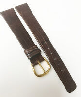 Genuine Original New Lizard 16mm Brown Leather Gold Buckle Watch Band