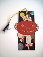 Vintage Halloween Bridge Tally w/ Clown Holding Large Pumpkin  *