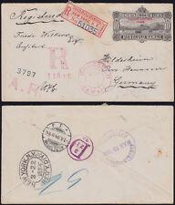 HAWAII 1894 registered postal stationery Scott U13 scarce R+ AR mark HONOLULU-DE