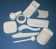10 Almond Tupperware Gadgets/Tools Flour, Sugar, Coffee Scoops, Biscuit Cutter +
