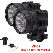 2x 90W CREE LED 7800LM Motorcycle Headlight Fog Spot Light+Wire Harness & Switch