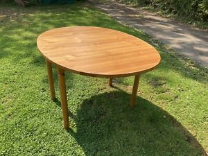 Large Oval Pine Drop Leaf Dining Table Hinged Country Farmhouse Solid 135cm x 1m